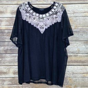 Verve Ami Tunic Top with Lace Applique - Size 3X